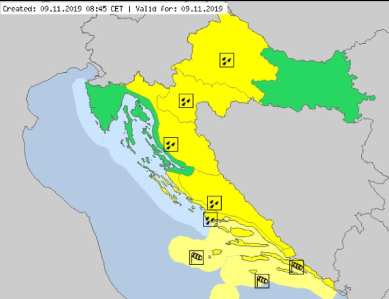 Karata Meteoalarm za Hrvatsku