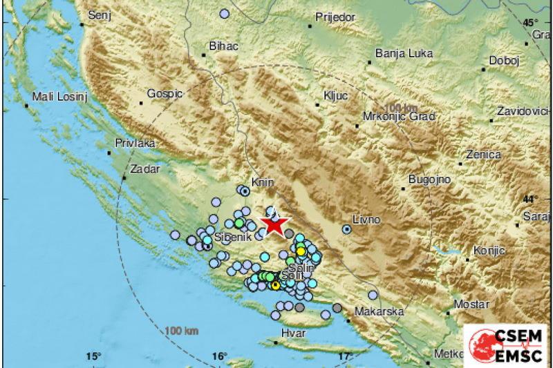 Jutros je umjeren potres zatresao Dalmaciju